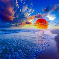 red blue ocean sunset fantasy moon Art Prints & Posters by eszra tanner