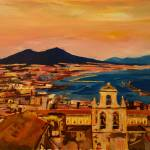 """City of Naples Italy with Mount Vesuvio and Gulf"" by arthop77"