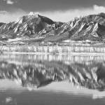 """Boulder Reservoir Flatirons Reflections CO BW"" by lightningman"
