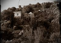 arab hillside house vintage sepia