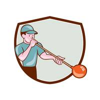 Glassblower Glassblowing Cartoon Shield