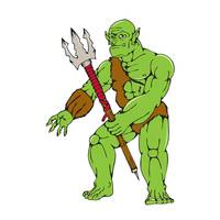 Orc Warrior Monster Trident Cartoon