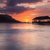 Hanalei Pier Sunset Art Prints & Posters by Mike Dawson