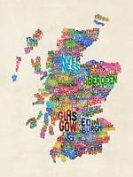 Scotland Typography Text Map