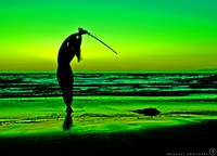 Girl Sword Sunset Silhouette w Defeated Creature