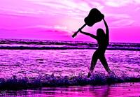 Sassy Girl Musician Holding Guitar Purple Sunset