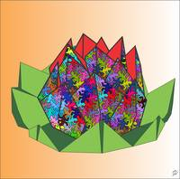 Colored Reptiles Lotus Origami