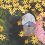 """Birdhouse and Black-eyed Susans"" by JackMckenziesArt"
