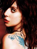 Lady Gaga Blue Tattoo Close Up