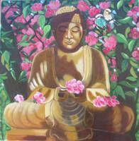 buddha and flowering tree
