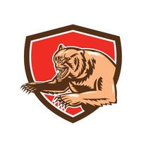 Grizzly Bear Angry Shield Retro