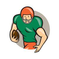 American Football Running Back Circle Cartoon