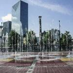 """Atlanta Skyline Olympic Park Fountain"" by GinetteCallaway"