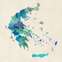 """Greece Watercolor Map"" by Michael Tompsett"