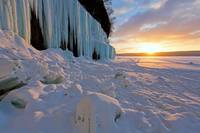 Grand Island Ice Curtains at Sunrise - Munising, M
