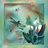 Dragenfly Dream in Green Art Prints & Posters by Gina Femrite