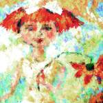 """Flower Girl and Sunshine Mixed Media Art"" by GinetteCallaway"