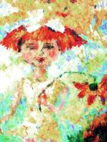 Flower Girl and Sunshine Mixed Media Art