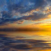 panoramic sunset with beautiful yellow clouds Art Prints & Posters by eszra tanner