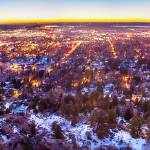 """Boulder Colorado Panorama Sunrise Glow"" by lightningman"