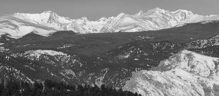 ntain Continental Divide Winter Panorama Black Whi