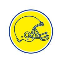 American Football Helmet Line Drawing Circle Retro