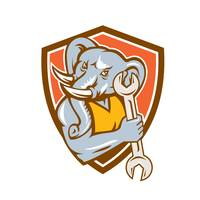 Elephant Mechanic Spanner Mascot Shield Retro