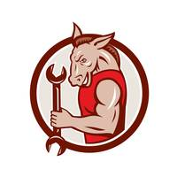 Donkey Mechanic Spanner Mascot Circle Retro