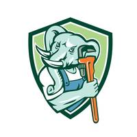 Elephant Plumber Mascot Monkey Wrench Shield Retro