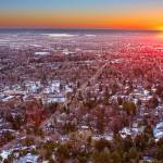 """Winter Morning Sunrise Over Boulder Colorado Unive"" by lightningman"