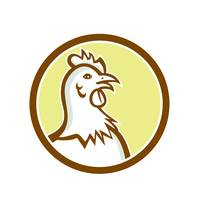 Chicken Hen Head Side Circle Cartoon
