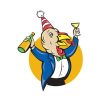Turkey Celebrating Wine Party Hat Cartoon