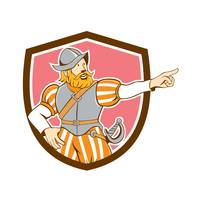 Spanish Conquistador Pointing Cartoon Shield