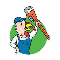 Turkey Plumber Monkey Wrench Circle Cartoon