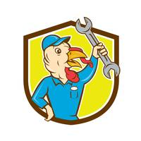 Turkey Mechanic Spanner Shield Cartoon