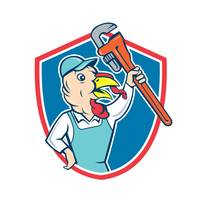 Turkey Plumber Monkey Wrench Shield Cartoon