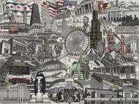 Drawing of Chicago Landmarks, Chicago Blackhawks,
