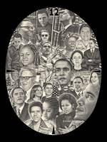 Drawing of Barack Obama, Michelle Obama and Family