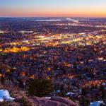 """City Of Boulder Colorado Downtown Scenic Sunrise V"" by lightningman"