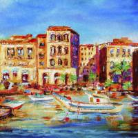 """Mediterranean Seaside Village and Boats"" by Ginette Callaway"