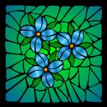 """Stained Glass Blue Flowers"" by elledeegee"