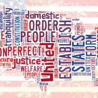 US Word Cloud Map - Preamble Art Prints & Posters by Paulette Wright