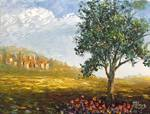 Italian Tuscany Town With Poppies. by Mazz Original Paintings