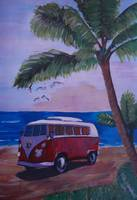 Surf Bus Series - The Red Surf Bus under Palms