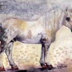 """Percheron French Horse Watercolor"" by GinetteCallaway"
