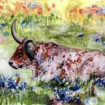 """Texas Longhorn In Bluebonnets Watercolor"" by GinetteCallaway"