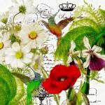 """hummingbirds floral"" by lizmix"