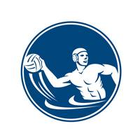 Water Polo Player Throw Ball Circle Icon