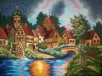 Sunset Over a Village Needlepoint