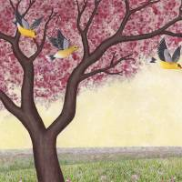 spring goldfinches Art Prints & Posters by Sarah Knight